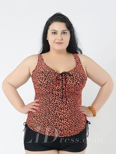 Orange Print Two-Pieces Plus Size Womens Swimsuit With Skirt Lidyy1605241018