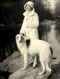 Borzoi or Russian Wolfhound with Silent actress, Hope Hampton.  These dogs belong in Art Deco paintings!