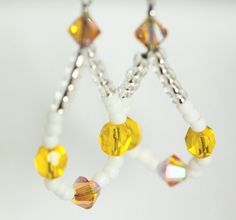 Yellow Bead Earrings Yellow and White Loop Earrings by ScoSiCa, $17.00