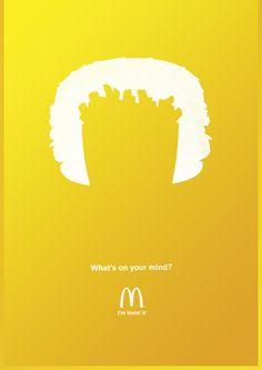 """Case: McDonald's ドイツのミュンヘンでマクドナルドが「騙し絵」を使って制作したシリーズプリント広告。  コピーは、""""What's on your mind?(キミは何を思い浮かべ"""