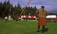 Caber tossing at the Braemar Gathering, BRAVE tour of Scotland