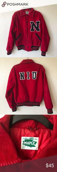 8c8f4bd135c Northern Illinois university varsity jacket Vintage northern Illinois  university varsity jacket. Red corduroy size M