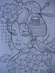 Resultado de imagem para gueixa para tattoo desenhos