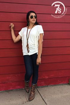 The Keene – white fring top from Savannah Sevens Western Chic