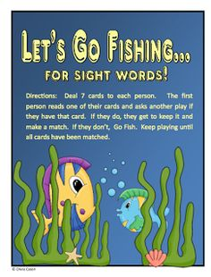 "FREE LANGUAGE ARTS LESSON - ""Go Fish for Sight Words"" - Go to The Best of Teacher Entrepreneurs for this and hundreds of free lessons. #FreeLesson  #TeachersPayTeachers   #TPT   #LanguageArts    http://thebestofteacherentrepreneurs.blogspot.com/2012/07/free-language-arts-lesson-go-fish-for.html"