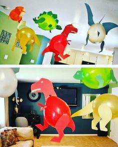 Birthday Party Make for your son a balloons dinosaur party # Artistic Corner # Teachers_Riyadh_Child Dinasour Birthday, Dinosaur Birthday Cakes, Dinosaur Party, 6th Birthday Parties, 3rd Birthday, Die Dinos Baby, Baby Dino, Baby Baby, Girls Party Decorations