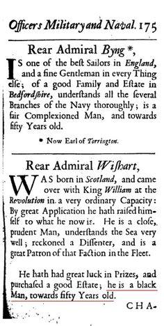 Rear Admiral Wishart, Was born in Scotland, ....he is a black Man.....