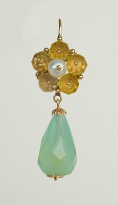 """Faceted Peruvian calcite drops suspended from a flower of yellow quartz beads set in 18kt cups and held by a tiny gold nail or """"clavo"""" in the traditional Ecuadorean manner. Clasp Style 3 3.6 cm $745 US"""