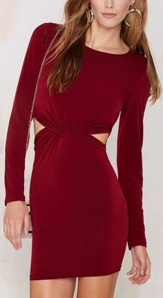Glamorous Knot a Chance Cutout Dress - Oxblood