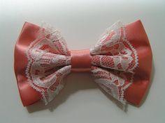 Peach color satin and ivory lace hair bow clip, fabric hair bow, large fabric bow, hair barrette, satin bow. $4.00, via Etsy.