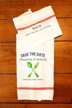 kitchen towel save the date