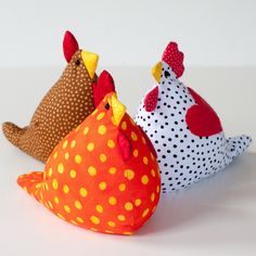 Here are some shots of recently finished bean bags that I have made. I am still refining the chicken/hen pattern.