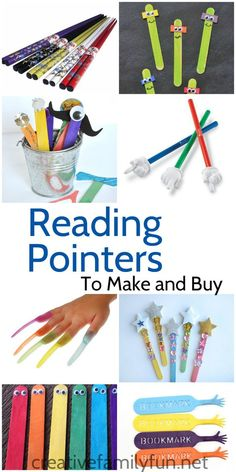 A collection of fun reading pointers you can make or buy for your beginning readers.