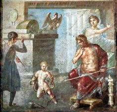 Hercules as a baby strangling the snakes.  House of the Vettii.  Pompeii, Italy.  1st century A.D.