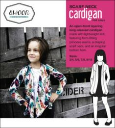 Girl's Swoon Scarf Neck Cardigan - (free pdf pattern and instructions) Sewing Patterns Girls, Baby Clothes Patterns, Sewing For Kids, Baby Sewing, Free Sewing, Clothing Patterns, Pdf Patterns, Sewing For Beginners, Neck Scarves
