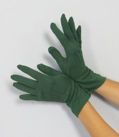vintage forrest green gloves | Vintage 1950's FOREST GREEN Nylon Wrist Gloves