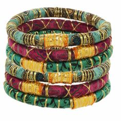 Kumari Bangles For One Week of School - Rosena Sammi Jewelry. Jewelry and accessories made from upcycled saris. All sales benefit the education of girls rescued from the redlight districts of India. See DO GOOD for more information and make a difference!
