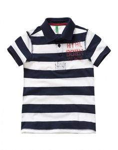 """cotton striped polo, short sleeves and semi-glossy buttons with Benetton logo. Maxi watercolor vintage look print, ribbed knit at collar and sleeve bottoms and slits at the bottom<br>This garment features a """"Dress Safely"""" tag: it has been made withou Benetton, Baby Boy Outfits, Vintage Looks, Polo Ralph Lauren, Short Sleeves, Boys, Mens Tops, Cotton, Collection"""