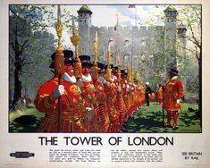 'The Tower of London', BR (LMR) poster, 1948-1965. British Railways (LMR) poster showing Beefeaters and ravens with the tower in the background. Artwork by Christopher Clark.