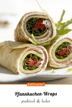 Praktischer Snack: Pfannkuchen-Wraps Pancake wraps - Delicious snack with a hearty filling, great fo Vegan Recipes Easy, Crockpot Recipes, Advantages Of Watermelon, Eating Plans, Nutritious Meals, Food Items, Food Hacks, Meal Planning, Breakfast Recipes