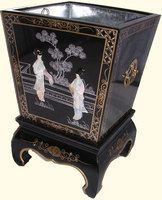"""12"""" Oriental planter box inlaid pearl with brass hardware and stand at import direct prices."""