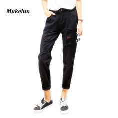 cc2366618585 New Arrival 2017 Women Harem Jeans Woman Loose Harem Pants Ripped Ankle  Length Pants Denim High