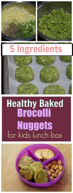 Healthy Brocolli Nuggets for kids lunch box. Baked Veggie Nuggets. Make kids eat more #Veggies
