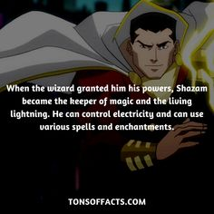 When the wizard granted him his powers, Shazam became the keeper of magic and the living lightning. He can control electricity and can use various spells and enchantments. #shazam #tvshow #justiceleague #comics #dccomics #interesting #fact #facts #trivia #superheroes #memes #1 #movies #captainmarvel