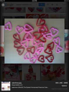 Valentines craft pipe cleaner hearts!!