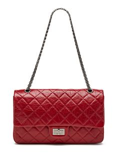 Chanel Red Distressed Calfskin Classic 2.55 Jumbo Reissue 227 Double Flap