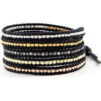 Chan Luu Black Leather Sterling Silver Mixed Nuggets Wrap Bracelet$170More details