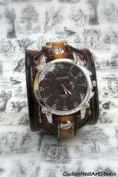 Tobacco Brown Leather Cuff Watch Wrist by CuckooNestArtStudio