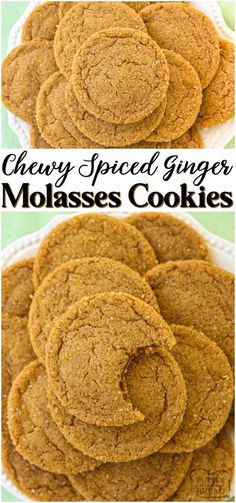 Soft chewy ginger molasses cookies are perfect for the holidays! lovely combination of spices give these molasses cookies incredible flavor and texture ginger molasses cookies baking fall holidays dessert recipe from family cookie recipes brownie cookie Delicious Cookie Recipes, Best Cookie Recipes, Sweet Recipes, Baking Recipes, Yummy Food, Tasty, Baking Ideas, Healthy Food, Cookie Flavors