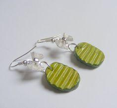 Food Jewelry Dill Pickle Miniature Food Earrings by NeatEats