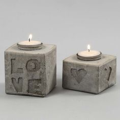 Cast Candle Holders with Letters & Shapes in Relief. using a Tetra Carton, craft concrete, self adhesive foam letters/shapes, candle holder. Cement Art, Concrete Crafts, Cement Planters, Wall Planters, Succulent Planters, Succulents Garden, Concrete Candle Holders, Metal Candle Holders, Papercrete