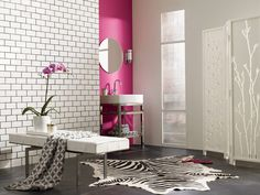 Sherwin-Williams paint colors: Exuberant Pink and Mindful Gray