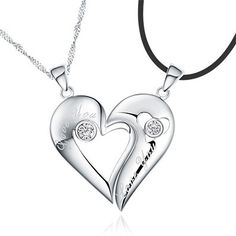Custom Name 925 Sterling Silver Half Heart Relationship Necklace Set for Two
