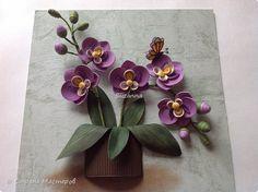 Картина панно рисунок День рождения Квиллинг Орхидея Бумага Бумажные полосы фото 3