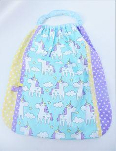 Drawstring Backpack, Backpacks, Boutique, Bags, Etsy, Unicorn Pattern, Yellow Fabric, Unicorns, Napkin