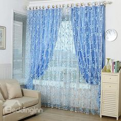 Modern Countryside Simple Style Grommet Top Curtain and Sheer