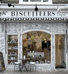 Delightfully intricate design on the exterior of this shop adds to its vintage inspired charm.