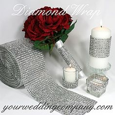 "Bling your wedding! ""Diamond Wrap"" is a sparkling, bendable ribbon perfect for wrapping around wedding bouquet handles, favor boxes, candles, vases, cakes and more. It's an economical alternative to costly rhinestone ribbon."