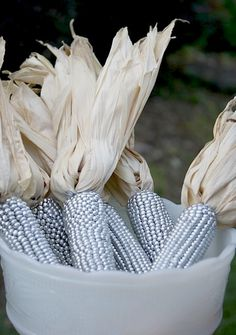 fall decorating with silver corn1 Add Silver To Your Fall Decor