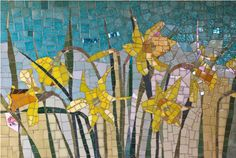 Daffodils Mosaic by Olive Stack (detail of Work in Progress)