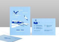 Pirrip Press screenprinted wedding invtation blue and white coastal british sea birds simple illustration 1 .jpg