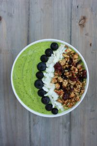 I love smoothies. I mean LOVE them. I could drink one for breakfast lunch and dinner and be happy. These smoothies are on another level though – in a bowl! Surprising filling, and way more beautiful than a traditional smoothie. Topped with Cranberry Granola, coconut and blueberries. This smooth...