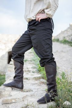 BLACK Classic Medieval Cotton Pants in fixed sizes! READY TO SHIP!