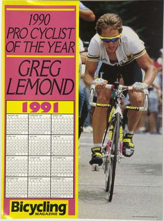 Greg Lemond 1990 Pro Cyclist of the Year Poster Cycling Outfit 25090c46b