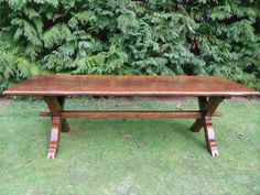 LARGE 8ft OAK REFECTORY DINING TABLE RUSTIC FARMHOUSE ANTIQUE STYLE