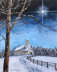 Star Painting Christmas Painting Church Painting by JamesRedding Night Sky Painting, Star Painting, Painting Snow, Winter Painting, Winter Scenes To Paint, Winter Scene Paintings, Christmas Paintings, Christmas Artwork, Winter Landscape